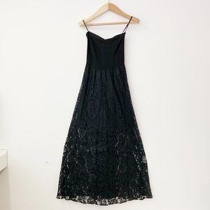 NWT bebe Lace and Bandage Maxi Dress Black XS